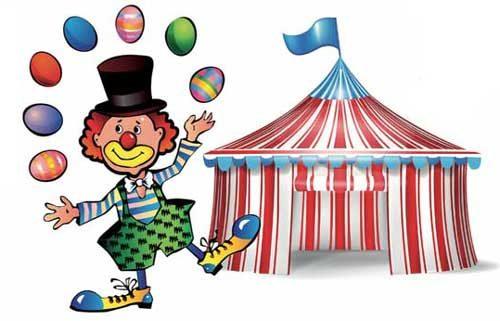 Clown im Zirkus Uhrzeit lernen