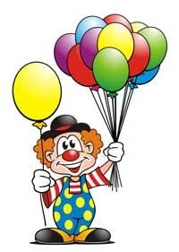 Lustiger Clown mit Luftballons
