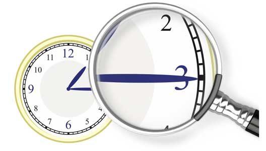 Der Minutenzeiger einer Uhr